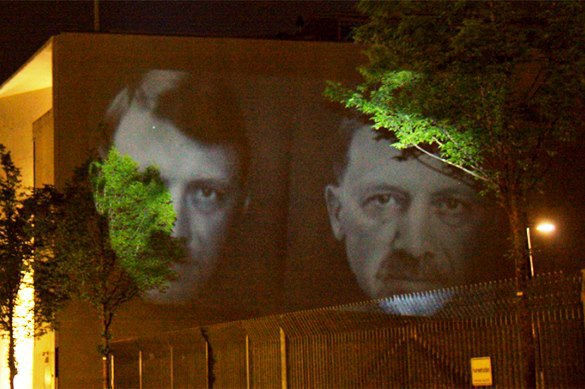 Turkey's Erdogan appears as Hitler on Turkish Embassy in Berlin. 58001.jpeg