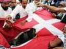 Angry Muslims burn Danish flag in protest over cartoons in southern Philippines