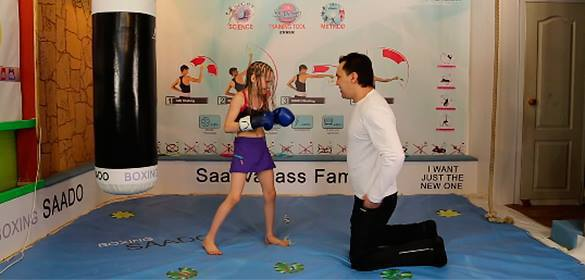 Little girl from Kazakhstan throws 100 punches in two minutes in viral boxing video. Little girl boxer at 7