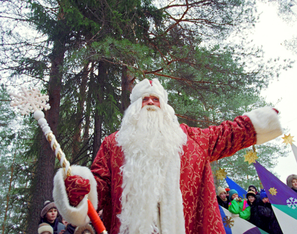 Grandfather Frost, Russian Santa Claus, says Snow Girl is his adopted granddaughter. Ded Moroz