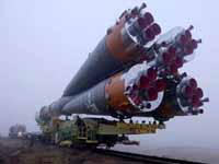 Russian Soyuz rocket moved to launch pad for blastoff to international space station