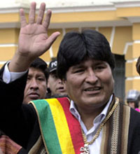 Bolivia's Morales celebrates one year in power studying new nationalizations
