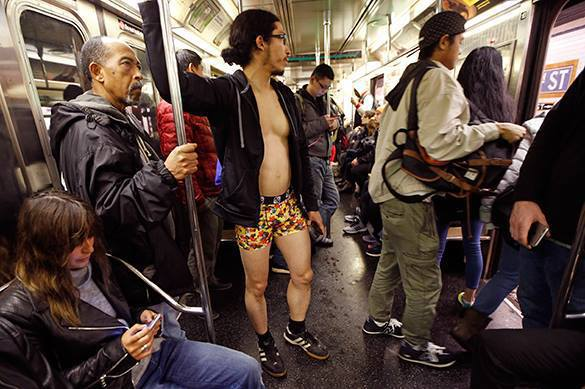 No Pants Subway Ride silly to do in Russia because of the cold. No pants subway ride