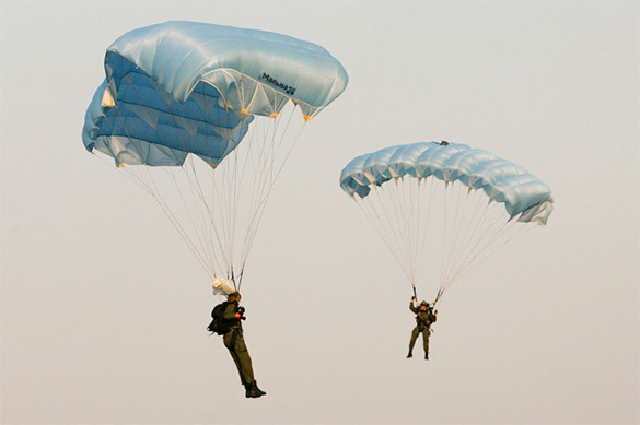 Russian airborne forces land in Belarus. Paratroopers
