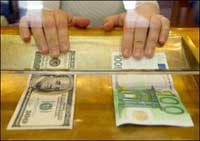 Euro lower against US dollar