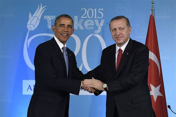 Dad and brother of Daesh agree to fight against it. Or 'for' it?. Obama and Erdogan