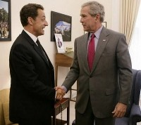 French president Sarkozy to lunch with Bush in Maine during his vacation