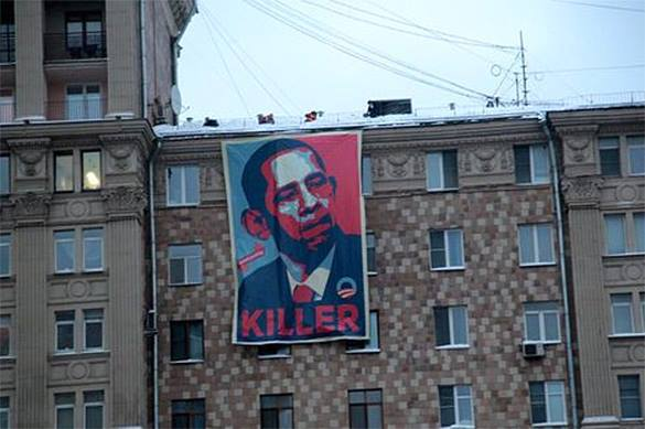 Obama Killer No. 1 banner appears opposite US Embassy in Moscow. Obama Killer No. 1