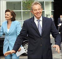Blair's wife overshadows Britain's leader-in-waiting with a quip