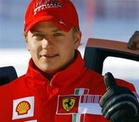 Kimi Raikkonen of Ferrari leads practice at the Chinese Grand Prix