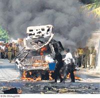 Pro-opposition newsapper press burnt down in Sri Lanka