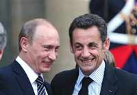 Putin proves to be great friends with French President Nicolas Sarkozy