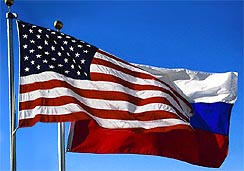 Russian and American flags