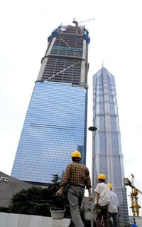 101-storey Shanghai World Financial Centre on fire