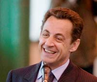 French President Sarkozy visits Hungary to meet Laszlo Solyom
