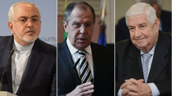 Russia, Syria and Iran as united front against USA. Foreign ministers of Russia, Syria and Iran