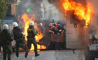 Bank Fire Kills 3 During Massive Protests in Greece