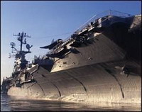 Historic aircraft carrier Intrepid out of water for body makeover