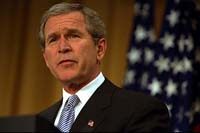 President Bush aims at executive salaries in speech
