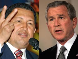 Hugo Chavez and George W. Bush