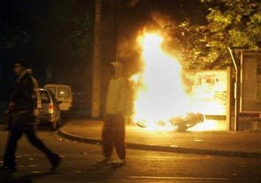 Street riots in Paris, France
