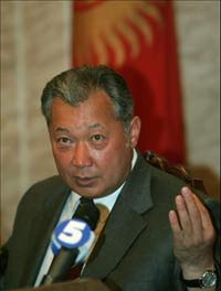 Kyrgyz government resigns but will stay on for 2 more months, President Bakiyev say