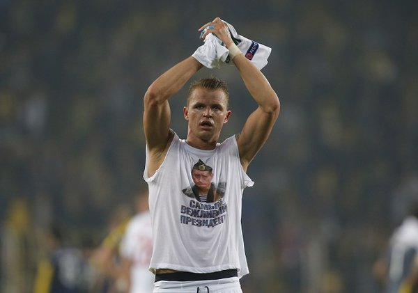 Russian footballer to be fined a fortune for wearing Putin vest in Turkey. Dmitry Tarasov, Lokomotiv