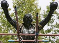 Serbian village erects 10-foot statue of film boxer Rocky Balboa