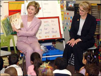 Laura Bush reads 'Kitten's First Full Moon' to children in Colombia