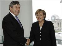 Gordon Brown to take Angela Merkel for Germany-England football match