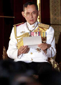 Thailand's king marking his 60th year on the throne calls for unity
