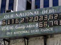 The USA's National Debt Clock can't keep up with Bush's spending