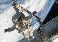 Atlantis Mission Specialists Begin Battery Swap on ISS Solar Arrays