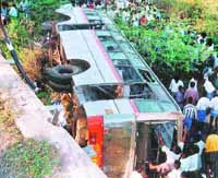 Bus falls into gorge in India, killing 18