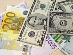 US dollars and euros