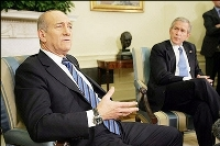 George Bush and Ehud Olmert try to bolster Palestinian leader