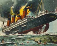 The sinking of Lusitania to ravage British and American treasuries