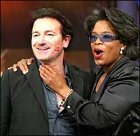 Oprah Winfrey, Bono promote new clothing line and iPod to fight AIDS in Africa