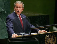Bush returns to issues of peace struggle at U.N. General Assembly meeting
