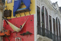 Two Brazilians live on building's wall