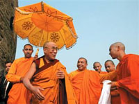 Buddhist Monks Welcome Dalai Lama in Border Monastery
