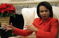 Rice says it is irresponsible not to deal with NKorea and Iran's threats