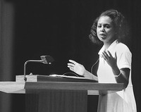 Anita Hill works on her project over nation's workplaces