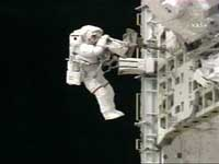 Cosmonauts finish a spacewalk to install protective panels on international space station