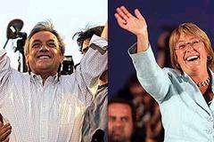 Sebastian Pinera and Michelle Bachelet