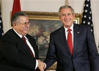Bush, Talabani embrace progress