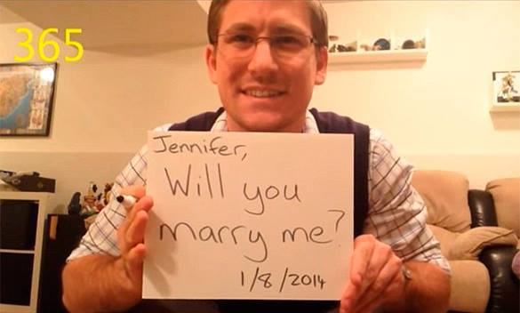 Man asks his girlfriend to marry him 365 times in one year in viral YouTube video. Marriage proposal video