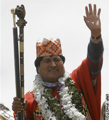 The inauguration of Evo Morales, the new President of Bolivia