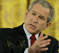 Bush seeks cooperation with Russia despite Putin's harsh remarks