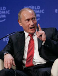 Putin scoffs at US predominance opening economic forum in Davos
